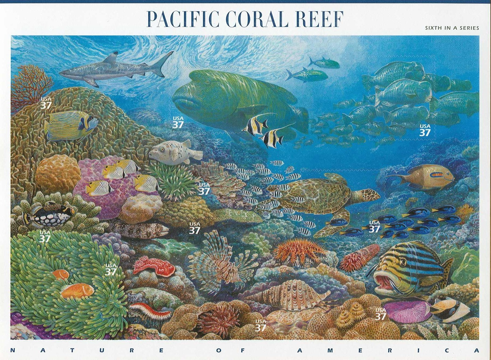 2004 US - Sc3831 37¢ Pacific Coral Reef Sheet (10) MNH