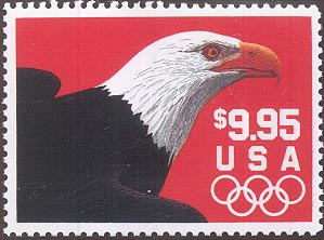 1991 US - Sc2541 $9.95 Eagle (red background) Express Mail FU