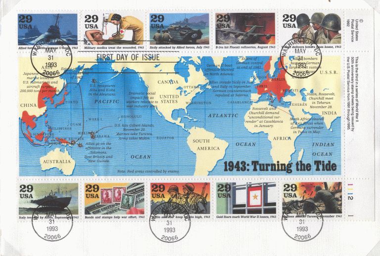 1993 US - Sc2765 FDC World at War - 1943 Turning the Tide SS