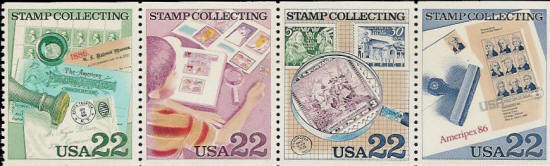1986 US - Sc2201a 22¢ US/Sweden Stamp Collecting (4) MNH