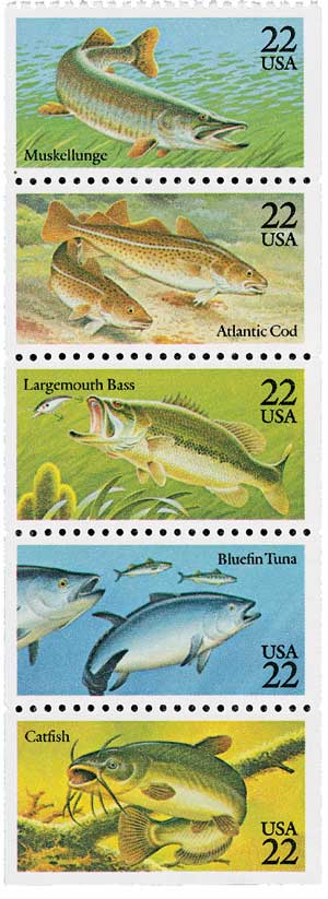 1986 US - Sc2209a 22¢ Fish Pane (5) MNH
