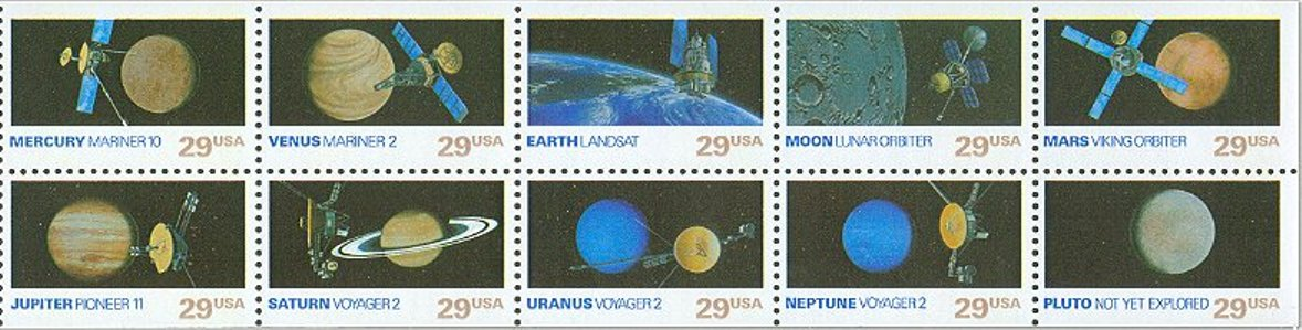 1991 US - Sc2577a Space Explorers Unfolded Pane (10) MNH