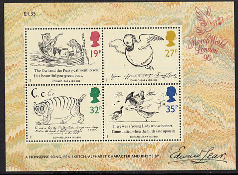1988 GB - MS1409 - Death Centenary of Edward Lear MS MNH